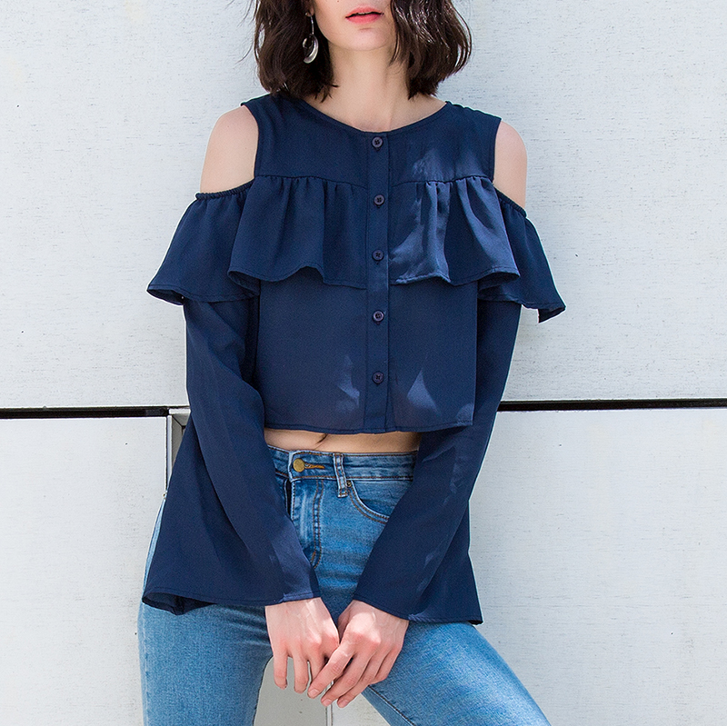 Sexy Shirts 2018 Autumn Women Chiffon Blouse Off Shoulder Ruffle Long Sleeve Crop Tops Casual Loose Plus Size Blusas Feminina