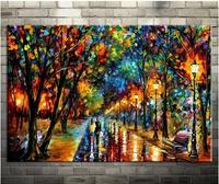 100 Handmade Modern Palette Knife Park Street Oil Painting On Canvas Art Pictures For Room Decor
