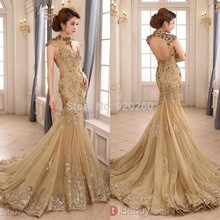 2015 Luxury Gold Mermaid Wedding Dress High Neck Sheer Vestido de noiva Illusion Applique Chapel Train Backless Bridal Gown