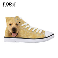 FORUDESIGNS Fashion Autumn Men's High-top   Vulcanize     Shoes   3D Dog Wolf Animal Pattern Canvas   Shoes   Classic Student Flat   Shoes