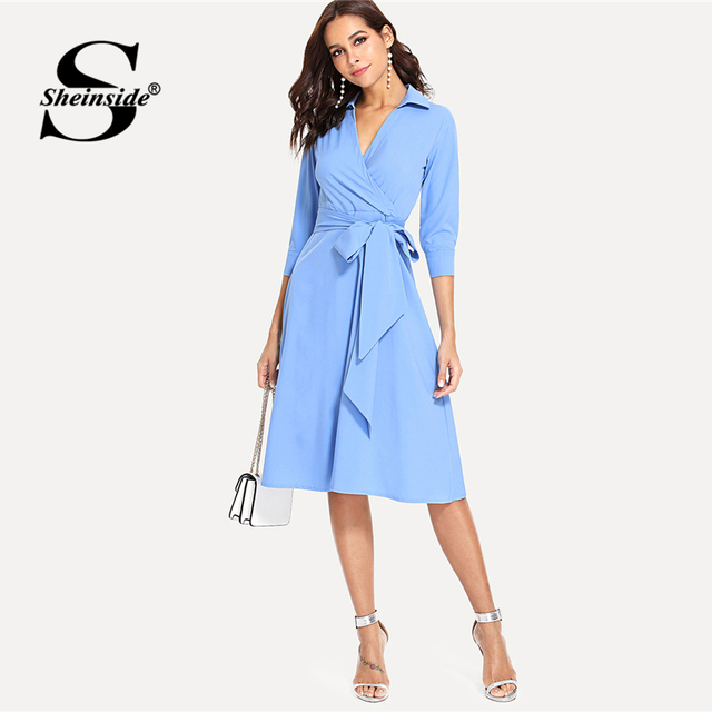 Sheinside Surplice Wrap Blue Workwear Dress Office Ladies Tie Waist Fit and  Flare Straight A Line Women Elegant Midi Dress 5040257118f8