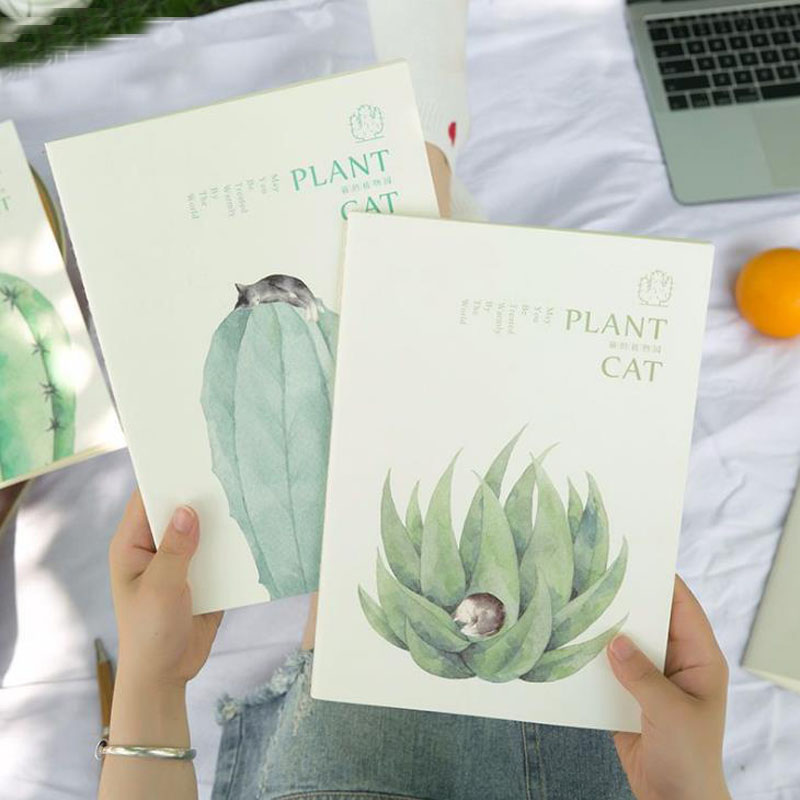 1 Pcs Kawaii School B5 Notebook Paper Creative Plant Cactus Cat Diary Notepad Sketch Book Office School Supplies Gift Stationery