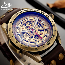 лучшая цена Steampunk Mechanical Watch Men Automatic Mechanical Watches Bronze Case Retro Leather Vintage Skeleton Watch Man Mechanism Watch