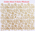Wholesale Full Nail Wraps golden Metal Nail Art decorations Adhesive Stickers, Flower Leopard adesivo para unhas 50 pcs/lot