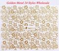 Wholesale Full Nail Wraps golden Metal Nail Art decorations Adhesive Stickers, Flower Leopard adesivo para unhas 50 pcs/lot