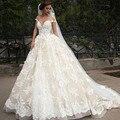 Vestido de noiva Elegante A-line Nupcial Do Laço do Vestido de Casamento Ruffles Querida Cap Sexy da Luva Vestidos de Casamento Plus Size