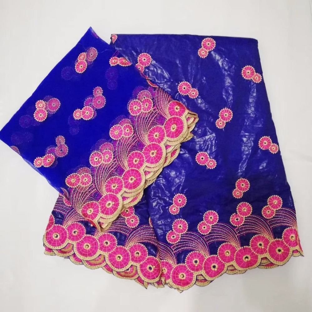 Royal Blue Beaded African Bazin Riche Lace With Net Lace For India Women rose red Embroidered