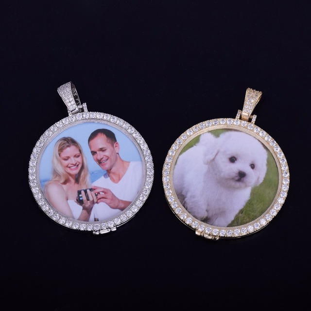Custom Picture Chain - Iced Out Custom Photo Round Madallion Pendant Necklace