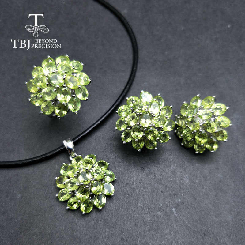 TBJ,Romantic natural peridot gemstone jewelry set in 925 sterling silver best ring pendant earring for women daily party wear