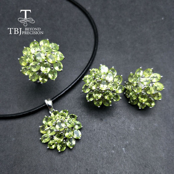 TBJ,Romantic natural peridot gemstone jewelry set in 925 sterling silver best ring pendant earring for women daily party wear tbj natural zambia emerald gemstone pendant in 925 sterling silver tree leaf pendant for women girl as anniversary birthday gift