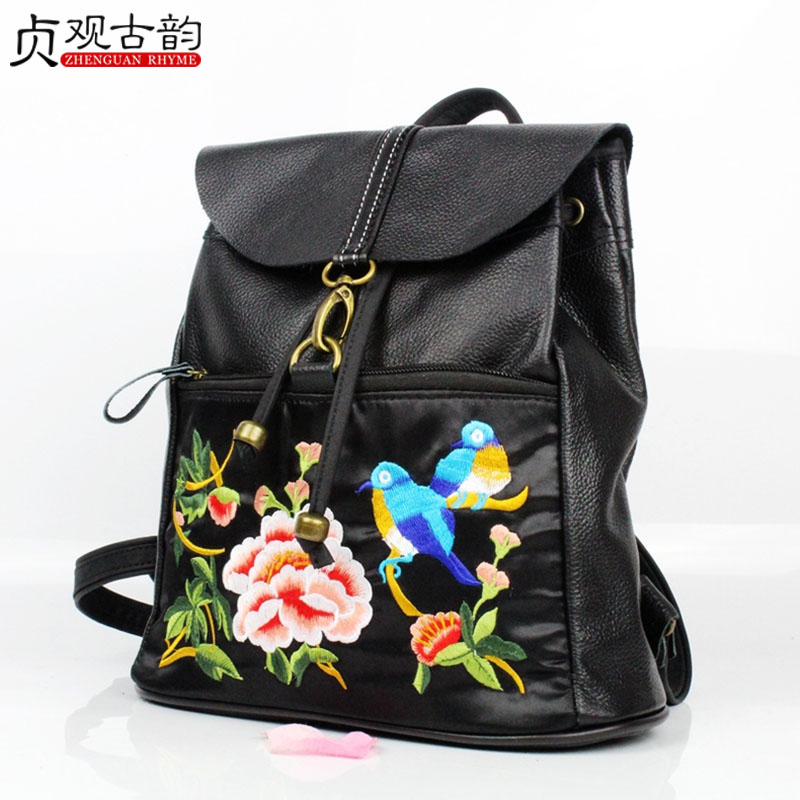 Noenname Double Womens Shoulder Leather Backpack Suitable For Travel Flower Embroidery Design Vintage National Style Lady Bags