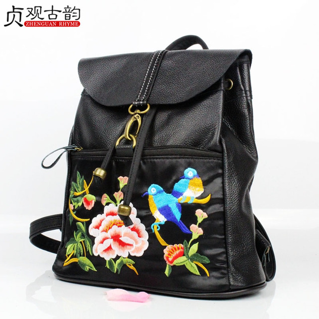 Women Genuine Leather Ethnic Backpack Handmade Flower Embroidery Bagback Vintage National Style Lady Shoulder Travel Casual Bag