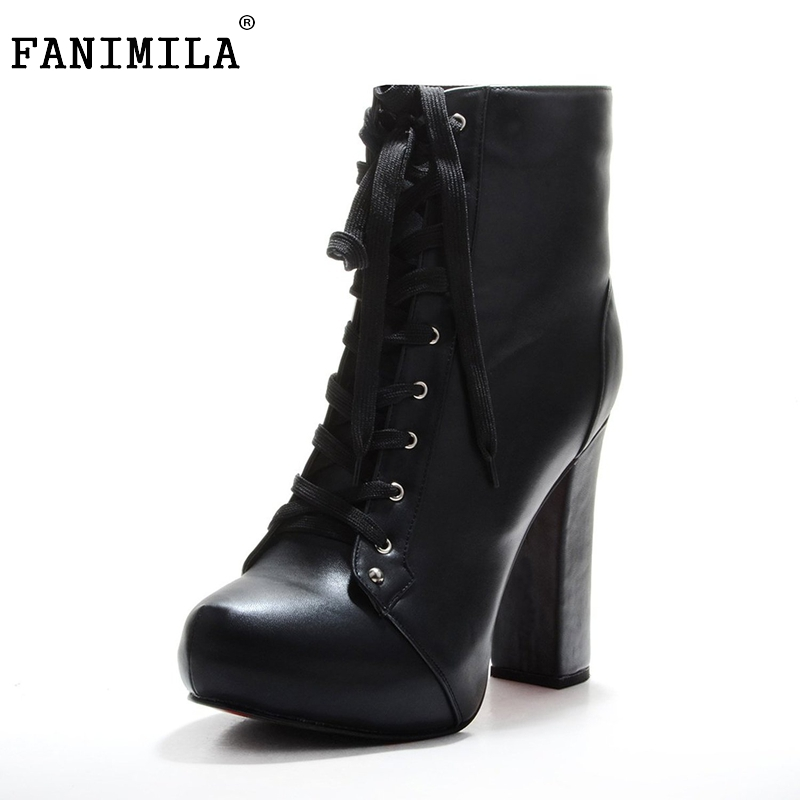 Women Ankle Boots Elegant Lace Up Pointed Toe Spike Heels Boots Woman High Quality Heeled Footwear Shoes Size 35-46 B096 купить