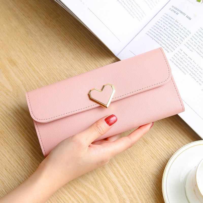 Новый стиль любовь женский кошелек с поперечным узором длинный участок 3 складной большой емкости держатель для карт клатч кошельки Carteira Feminina