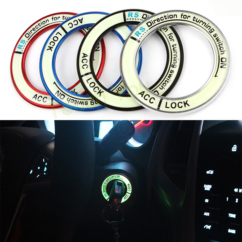 Luminous Alloy Car Ignition Switch Cover Auto Accessories Car Stickers Circle Light Decoration Universal For Car