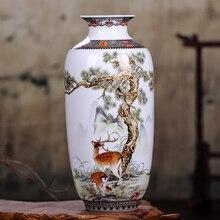 Jarrón de cerámica Jingdezhen, jarrón de animales de estilo chino Vintage, superficie fina lisa, artículos de decoración para el hogar