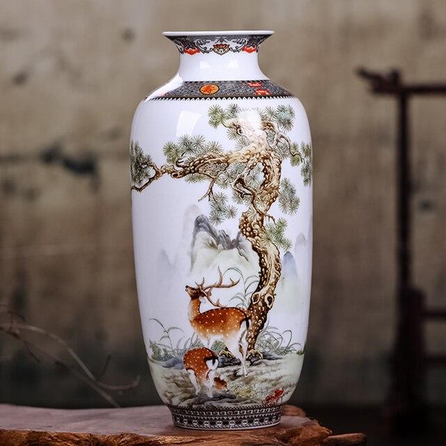 Jingdeedt vaso de cerâmica estilo chinês, artigos para decoração de casa, vaso fino de superfície suave