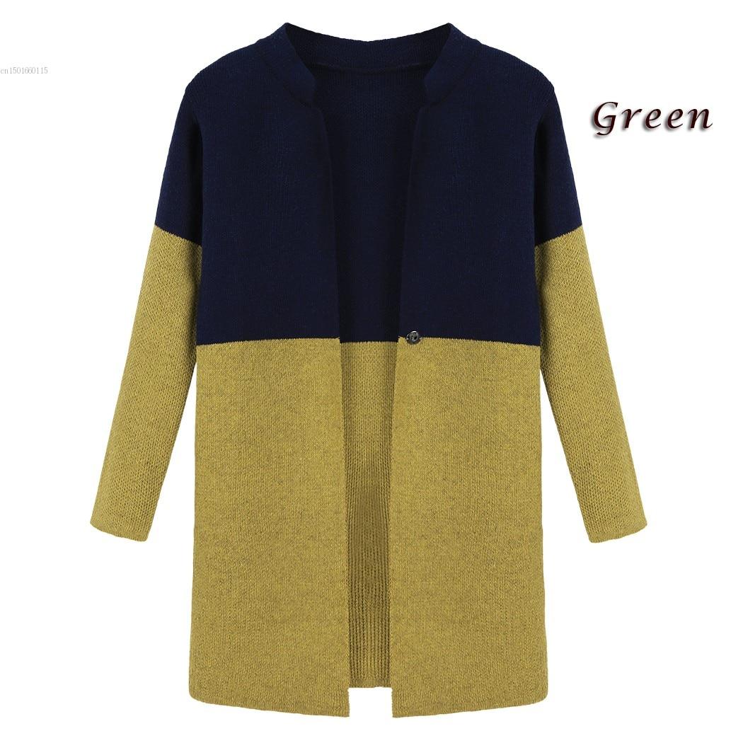 Gray Green Cardigan Sweater Women Casual Long Sleeve Crochet Coat