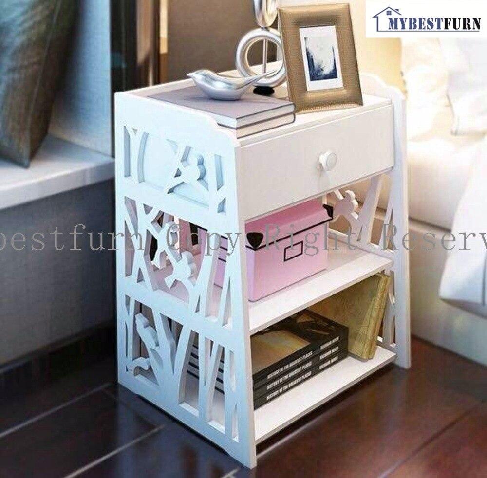 Mybestfurn Carved Bird Pattern White Nightstand Bed End Cabinet Multifunctional Cabinet Waterproof Fireproof Wood Furniture 272N