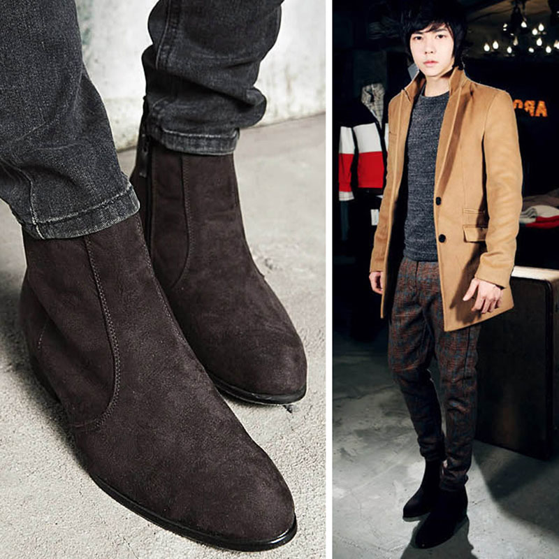Chelsea Boots Men High Top Ankle Boots Pointed Toe Flock Nubuck ...