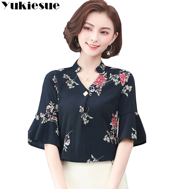 Women Floral Casual Button Shirt Ladies Work OL Office Long Sleeve Blouse Top