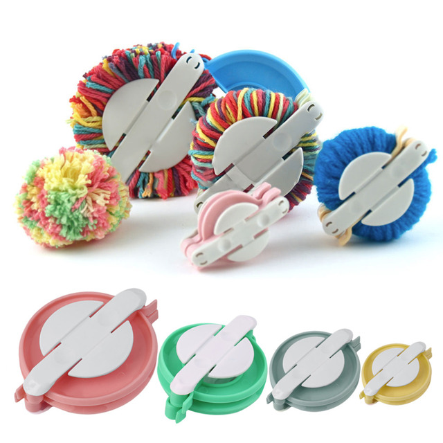 38mm/48mm/68mm/88mm New 4 Sizes Multicolor Pompom Maker Ball Weaver Needle Craft Knitting Wool Tool