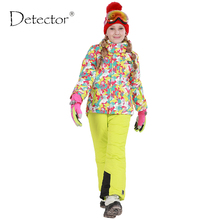 2016 Detector de Invierno Niñas Conjunto Al Aire Libre de Esquí Snowboard a prueba de Viento Impermeable de Lana ropa de Abrigo para Los Niños de La Muchacha Caliente Chaqueta de Esquí