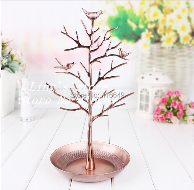 Free shipping Retro Copper color Earring Ring Jewelry Tree Stand