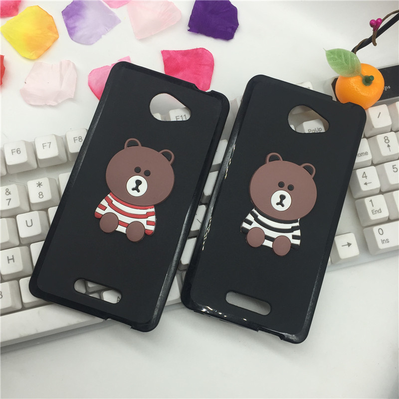 Hot Cartoon Brown Bear Anti-knock Silicon Fitted Phone Case for Alcatel One Touch Pop 4S 5.5 5095Y OT-5095 Full Cover