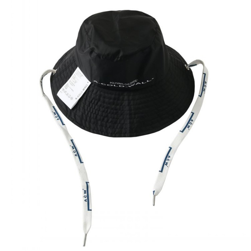 New A-Cold-Wall* Nylon Black Bucket Hat A-Cold-Wall* Letter Printing Patch  Design ACW Label Long Drawstring Caps Unisex Hip hop