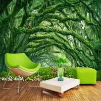 Nature 3D Wallpapers Forest Landscape Photo Wall Murals Green Trees Animals Wall Papers Home Decor Living Room Bedroom Murals