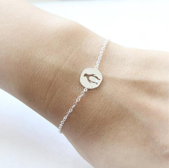 Daisies 10pcs Lot New Fashion Gold Silver Lovely Cut Out Penguin Bracelet Friendship Statement Jewelry For Women Lover Gift In Chain Link Bracelets