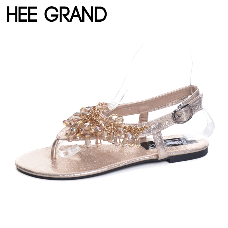 HEE GRAND Women Summer Sandals 2017 NEW Crystal Flip Flops Beading Beach Shoes Woman Hot Flats Sandals Size Plus 35-41 XWZ3721 hee grand silver gladiator sandals summer platform flip flops split leather creepers shoes woman flats size 35 43 xwz2133