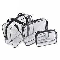 3 قطعة/المجموعة pvc حقائب السفر حقيبة مستحضرات التجميل حقيبة شفافة للماء متعددة الوظائف غسل أكياس الزينة تشكل كيس للجنسين