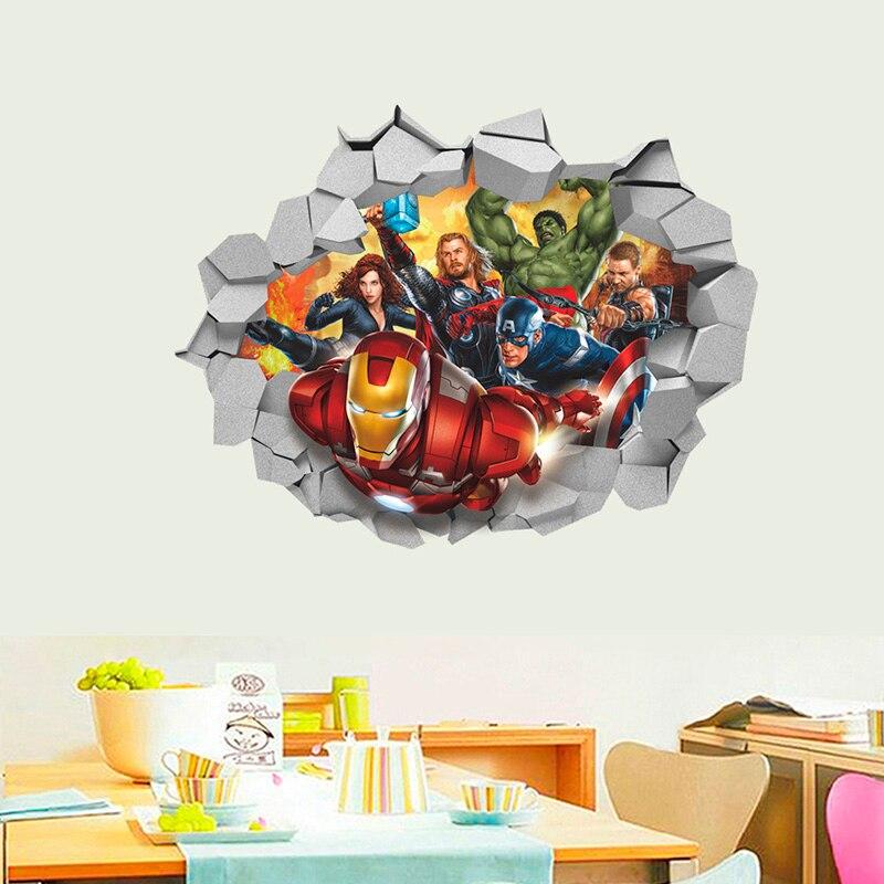 Iron Man 4  Smashed 3D Wall Decal 3D Sticker Vinyl Decor Door Art Poster Mural