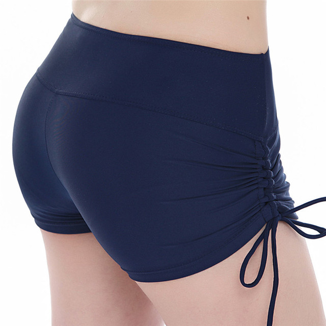 Women Drawstring Dark Blue Yoga Shorts