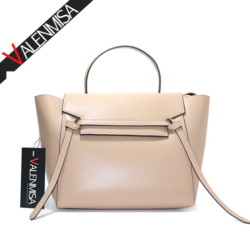 цены Fashion Nappa Trapeze Belt Genuine Leather Bags For Women Handbag Designer Brand High Quality Ladies Shoulder Messenger Bag tote