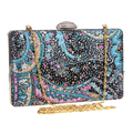Women messenger shoulder bags clutch rhinestone evening bags with floral vintage evening bag wedding handbags