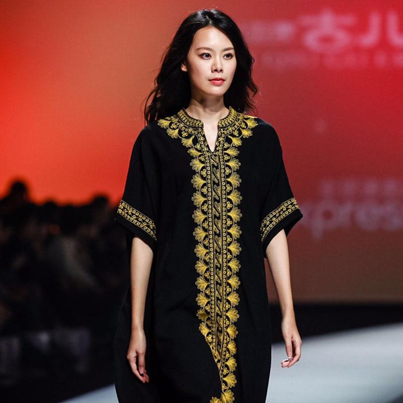 Jiqiuguer femmes broderie florale noir Boho Dreeses rouge o-cou lâche longue Robe d'été grande taille Vintage Robe G171Y016