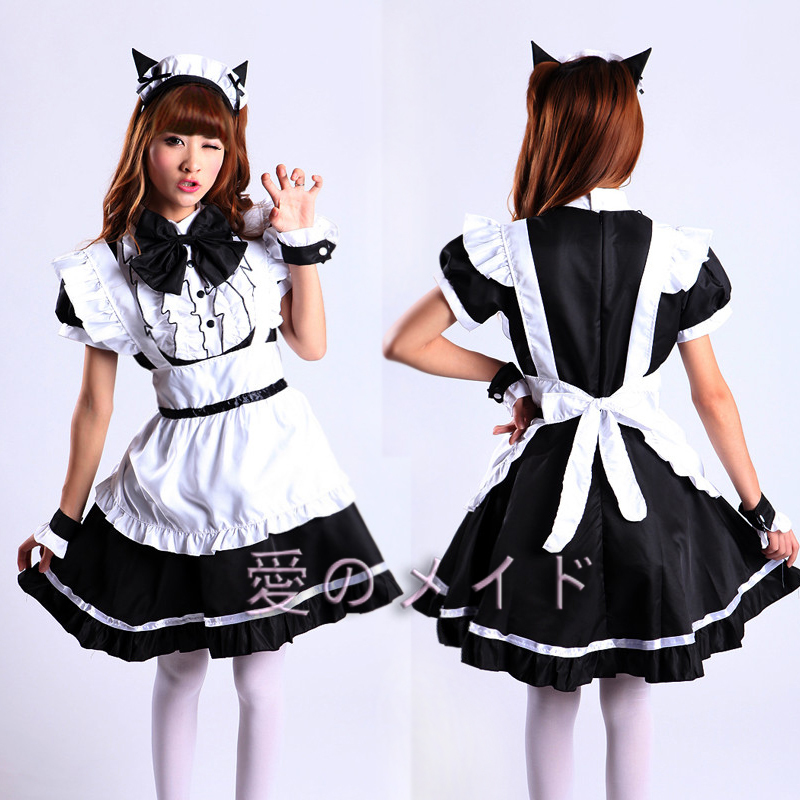 2015 New Women Lolita Dress Medieval Dresses Sexy Cat Ears Maid Cosplay Costume Black Pink Halloween