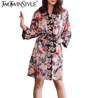 TWOTWINSTYLE Summer Two Pieces Set Women Print Three Quarter Nightclothes Tops Elastic Waist Loose Women S