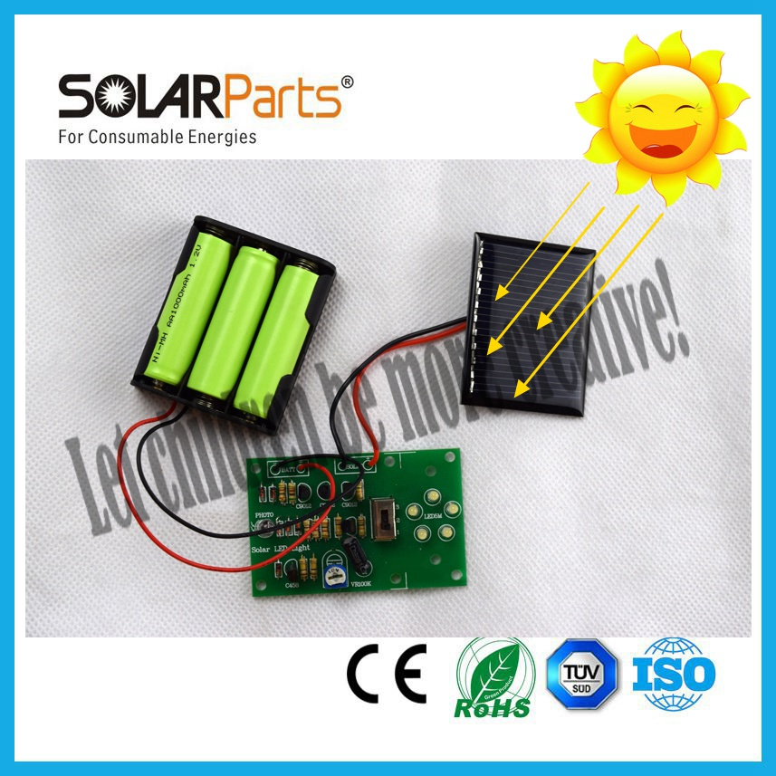 Educational LED DIY solar kit for children with battery box and circuit board without rechargeable battery .