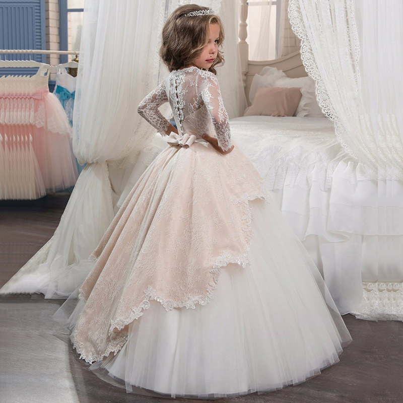 Новинка года, Открытое платье с цветочным рисунком на спине для девочек высококачественное свадебное платье с цветочным узором для мальчиков элегантное праздничное платье с кружевом и цветочным узором для девочек - Цвет: Beige