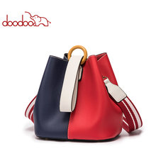Patchwork Leather Bucket Totes for Girl Classical Stripe Ajustable Strap Crossbody Bag New Design Women Drawstring Composite Bag