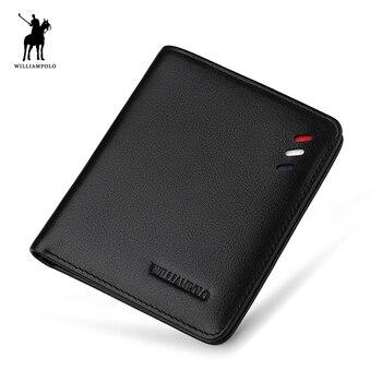 4408669f9fb7 Дизайнерский кожаный мужской тонкий мини-кошелек из натуральной кожи,  мужской маленький кошелек, кредитная