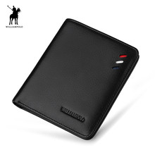 WILLIAMPOLO Leather Designer Genuine Leather Men Slim Thin Mini Wallet Male Small Purse Credit Card Dollar Price PL250(China)