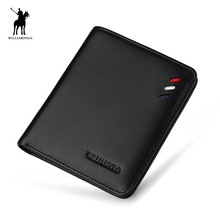 WILLIAMPOLO Leather Designer Genuine Leather Men Slim Thin Mini Wallet Male Small Purse Credit Card Dollar Price POLO250