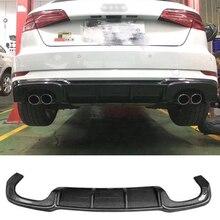 Углеродного волокна заднего бампера для губ подходит для au-ди S3 Sportback-на 2017 автомобильный диффузор сзади губ стайлинга автомобилей авто модифицированные аксессуары