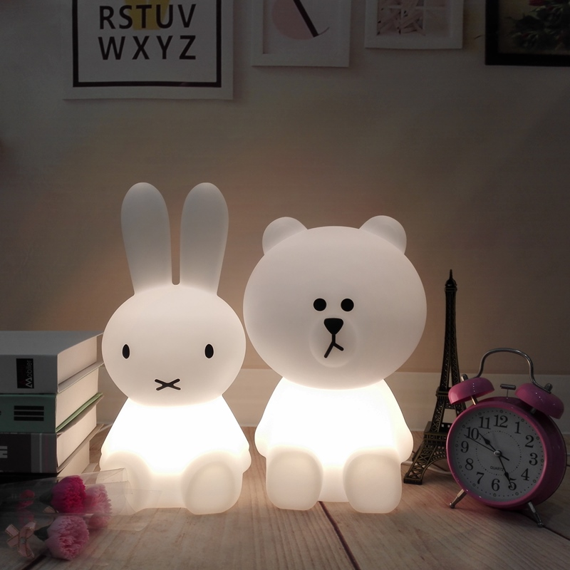 LED Rabbit Night Light Bear Table Lamp Dimmable for Children Baby Kids Birthday Christmas Gift Animal Cartoon Decorative Lamp beiaidi 7 color usb rechargeable rabbit led night light dimmable animal cartoon light with remote baby kids christmas gift lamp