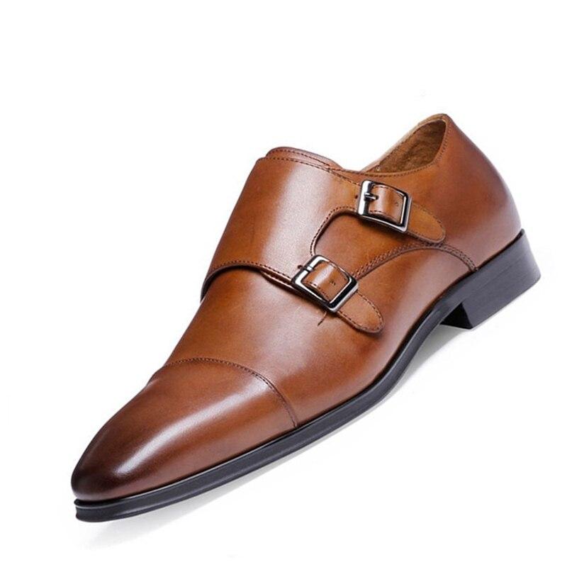 Grande size38-48 marque de luxe en cuir véritable hommes Oxford chaussures bout pointu hommes chaussures habillées avec Double boucle mâle chaussures de mariage